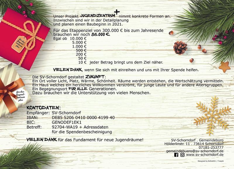 WeihnachtsSpende 2019 Rückseite